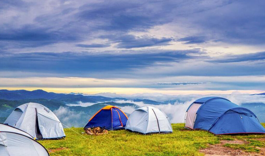 Camping at the top of the mountain