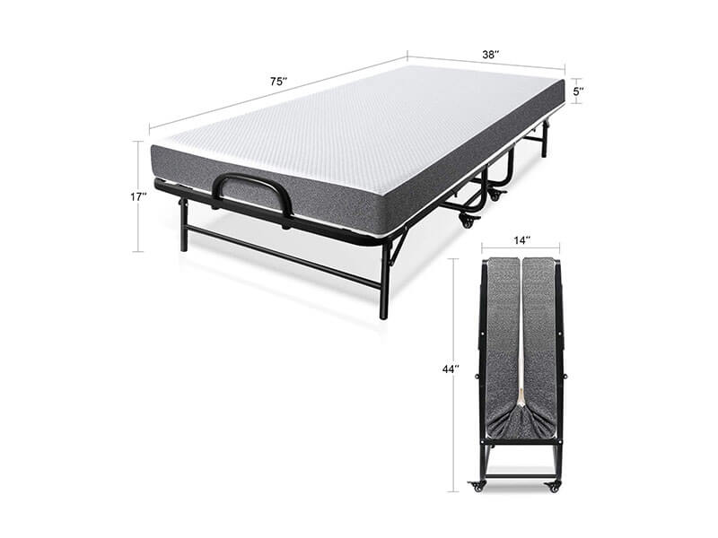 Smile Back Folding Rollaway Bed with Mattress