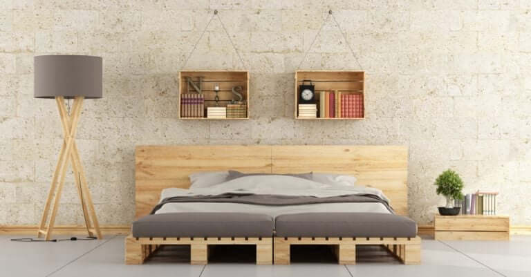 room decorated with wooden bed frame