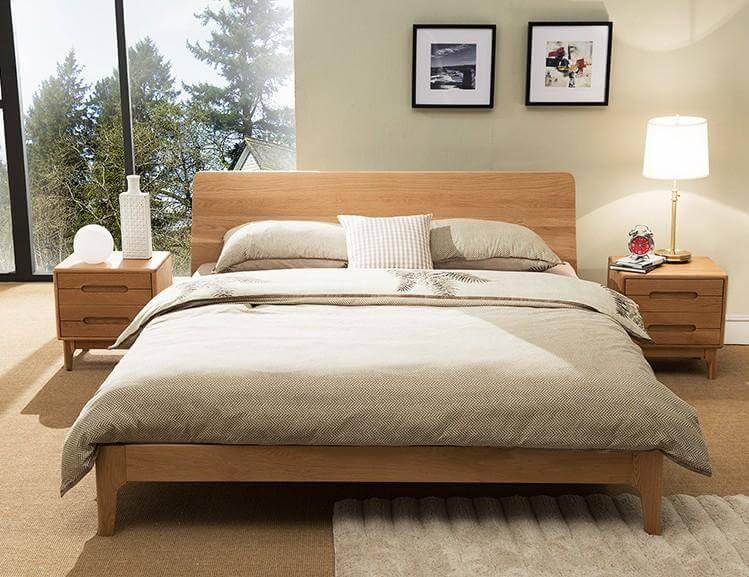 scandinavian wood bed frame queen size